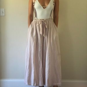 Worn once baby pink free people overall pants